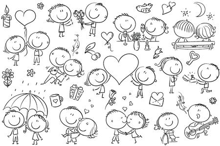 Funny doodle parejas besándose, bailando, etc. Ideal para el día de San Valentín, ilustraciones de amor y romance, contorno en blanco y negro