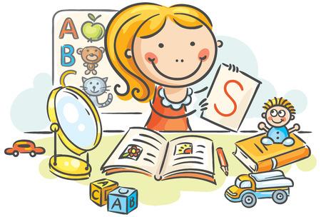 Ein Kindersprachtherapeut mit Spielzeug, Büchern, Briefen und einem Spiegel Vektorgrafik
