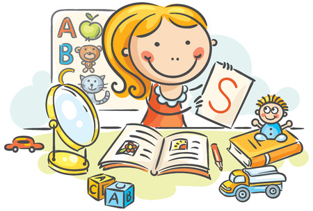 A kids speech therapist with toys, books, letters and a mirror Illustration
