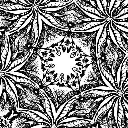 A square texture with leaves, hand-drawn illustration