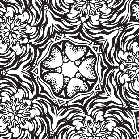 Intricate ornament, black and white vector drawing Иллюстрация