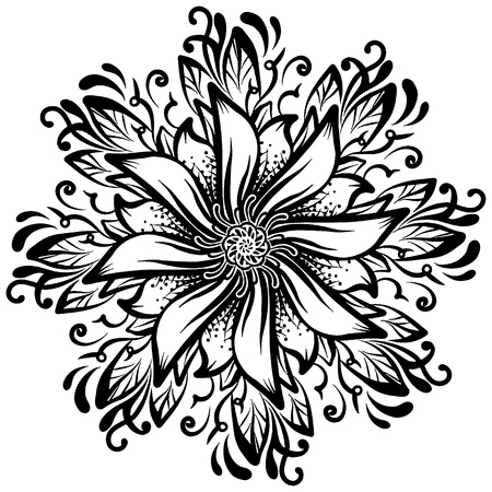 A round hand-drawn pattern background a flower, monochromatic vector illustration