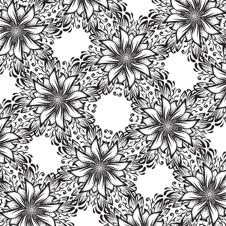 A square black and white background with flowers, ornamental texture