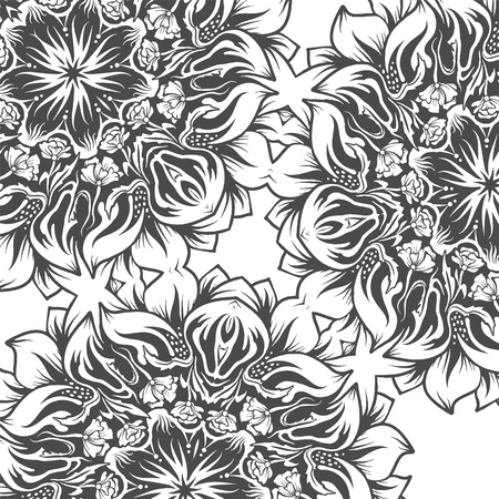 A square tile with flowers, monochromatic drawing, vector