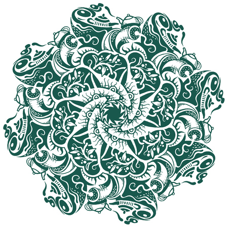 A round hand-drawn pattern, decor design, vector