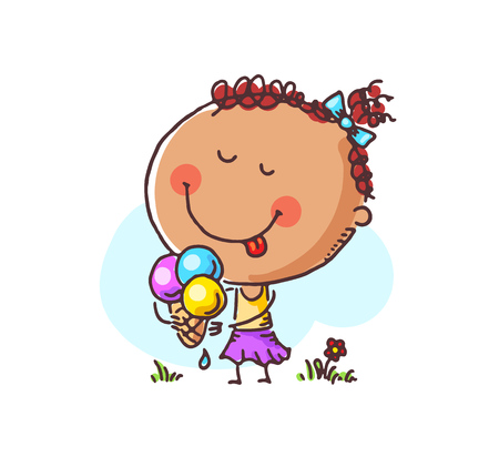 Little girl enjoying her ice-cream, vector, illustration