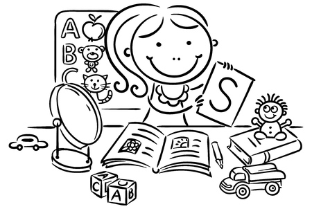 A kids speech therapist with toys, books, letters and a mirror, black and white Illustration