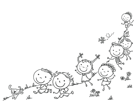 Happy cartoon kids running, vector frame with a copy space, black and white