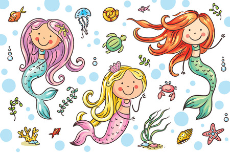 Cartoon mermaid and sea life set, vector illustration Иллюстрация
