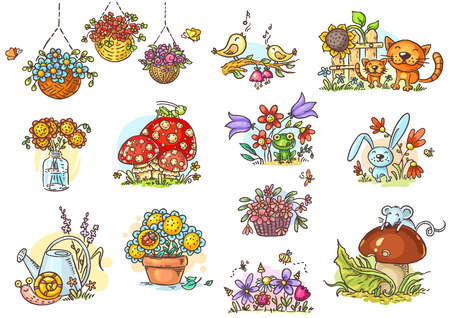 Simple and positive cartoon illustrations of neutral nature to fill in small blank spaces in your projects Ilustração