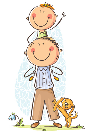 Father and son having fun, cartoon vector illustration