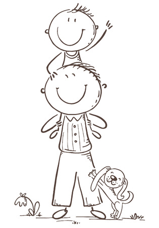 Father and son having fun, cartoon vector illustration, black and white