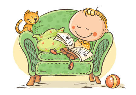 Little child reading a book in an arm-chair with his cat, colorful vector graphics