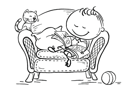 Little child reading a book in an arm-chair with his cat, vector graphics Иллюстрация