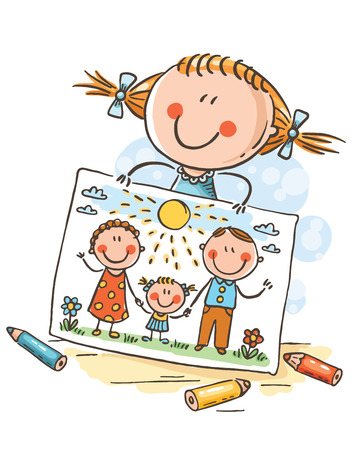 Little girl has drawn a picture of her family, colorful vector clipart