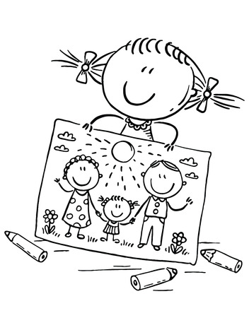 Little girl has drawn a picture of her family, outline vector clipart Иллюстрация