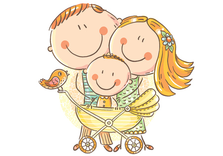 Happy family with a baby in a baby carriage, vector illustration Иллюстрация