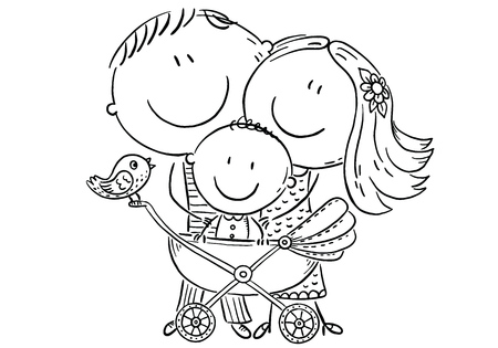 Happy family with a baby in a baby carriage, black and white