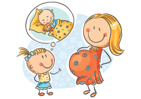Pregnant mother and little daughter talking about the future baby, cartoon vector illustration
