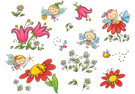 Set of cartoon fairies,insects, flowers and elements, vector graphics isolated on white background Illustration