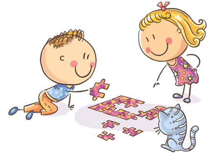Happy cartoon kids trying to assemble puzzle, vector illustration