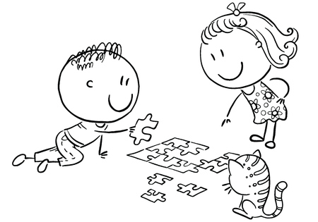 Happy cartoon kids trying to assemble puzzle, black and white