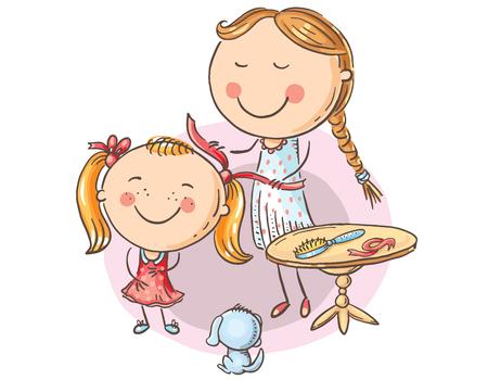 Happy mother combing her daughter's hair, cartoon graphics, vector illustration