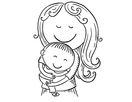 Happy cartoon mother with a child, vector illustration, black and white