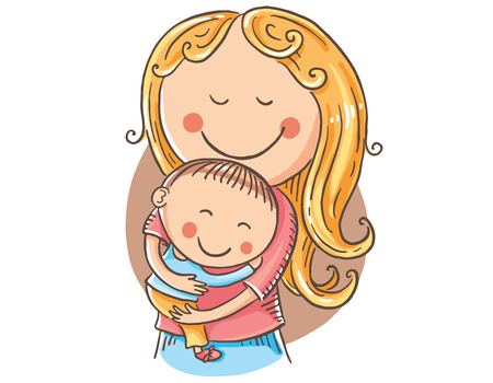 Happy cartoon mother with a child, vector illustration, colorful Иллюстрация