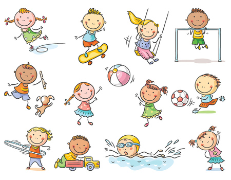 Little cartoon kids activities - playing outdoor games or going in for sports, set of 12 kids, no gradients