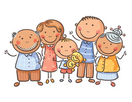 Happy family of five, cartoon graphics, vector illustration Stock Photo