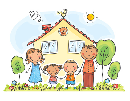 Family with two children near their house, cartoon graphics, vector illustration