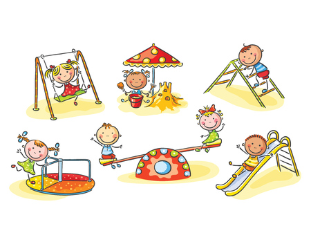 Happy cartoon kids on playground, cartoon graphics, vector illustration Illustration