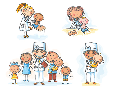 Family doctor with his patients, cartoon graphics, illustration Stock Illustratie