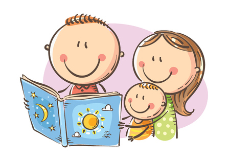 Cartoon mother, father and son reading a book together, Vector, Childs Drawing