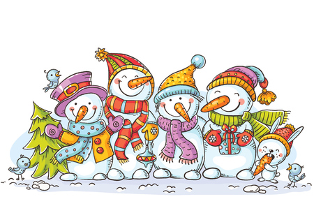 Happy colorful snowmen with Christmas ornaments, greeting card, vector illustration, colorful Иллюстрация
