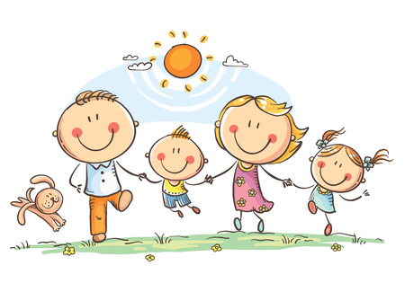 Happy family with two children having fun running outdoors, vector drawing