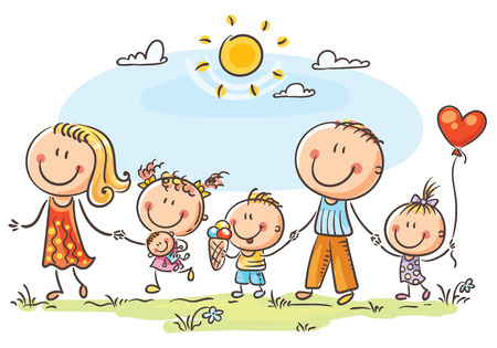 Happy family with three children walking outdoors and holding hands Vectores