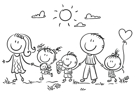 Happy family with three children walking outdoors and holding hands, outline Illustration