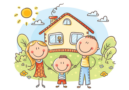 Happy cartoon family with one child near their house with a garden, vector illustration