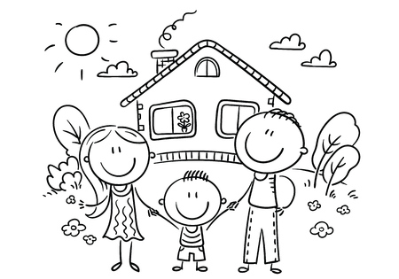 Happy cartoon family with one child near their house with a garden, vector illustration, outline Иллюстрация