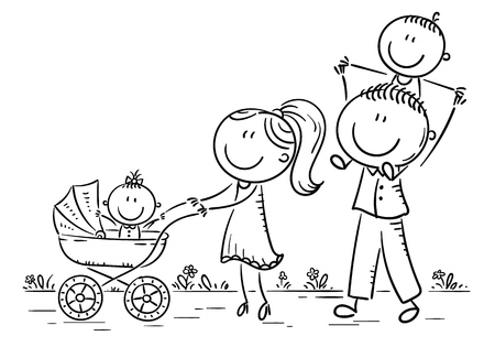 Happy cartoon family with two children walking outdoors, vector illustration, outline Иллюстрация