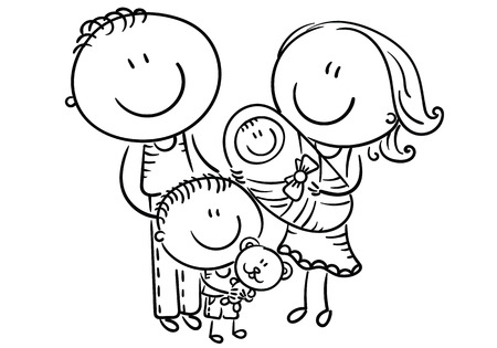 Happy cartoon family with two children, vector illustration outline Иллюстрация
