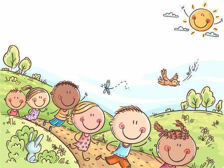 Happy kids running outdoors on a summer day, colorful background with a copy space, no gradients Ilustração