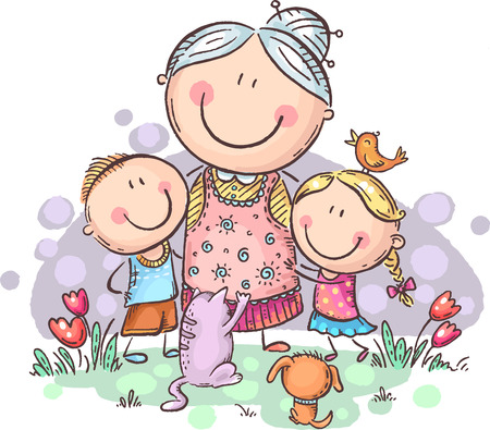 Everyone loves granny, grandmother with grandchilren and pets, colorful vector clipart