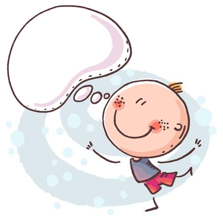 Doodle kid with a speech bubble, colorful vector clipart, no gradients Ilustração
