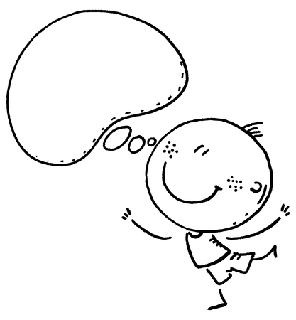 Doodle kid with a speech bubble, vector clipart, black and white