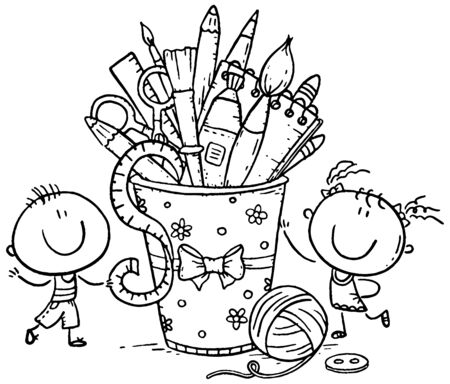 Creative kids with crafting tools, black and white