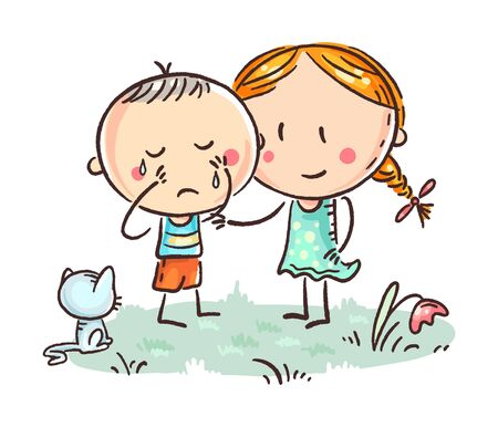 A little boy crying and a girl comforting him, vector illustration