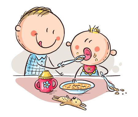 Father feeding baby, cartoon vector illustration Иллюстрация